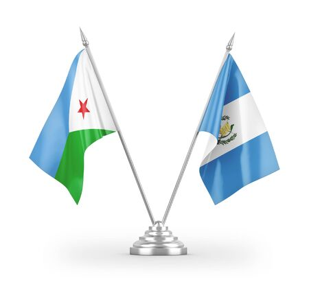Guatemala and Djibouti table flags isolated on white background 3D rendering