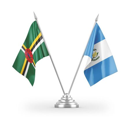 Guatemala and Dominica table flags isolated on white background 3D rendering