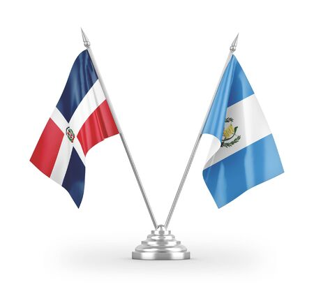 Guatemala and Dominican Republic table flags isolated on white background 3D rendering