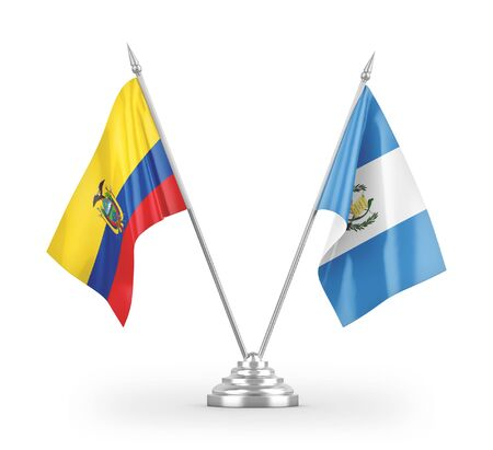 Guatemala and Ecuador table flags isolated on white background 3D rendering
