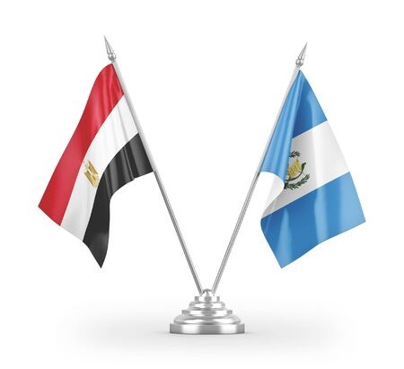 Guatemala and Egypt table flags isolated on white background 3D rendering Zdjęcie Seryjne