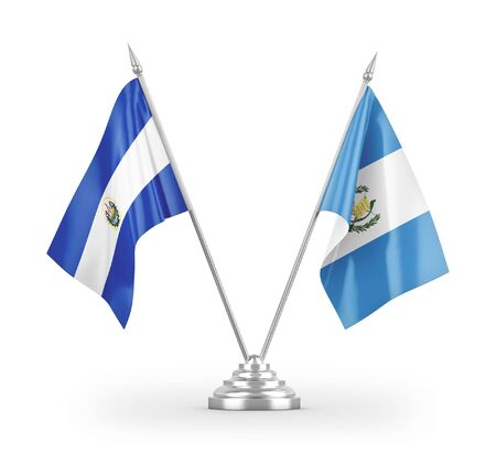 Guatemala and El Salvador table flags isolated on white background 3D rendering