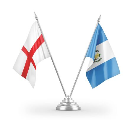 Guatemala and England table flags isolated on white background 3D rendering Zdjęcie Seryjne