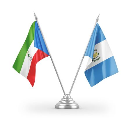 Guatemala and Equatorial Guinea table flags isolated on white background 3D rendering
