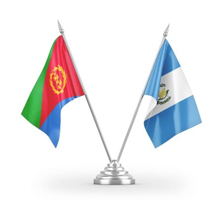 Guatemala and Eritrea table flags isolated on white background 3D rendering