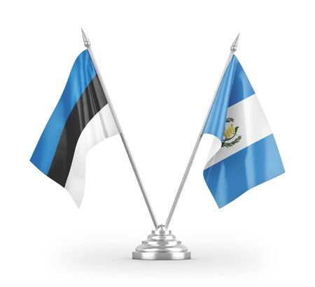 Guatemala and Estonia table flags isolated on white background 3D rendering Zdjęcie Seryjne