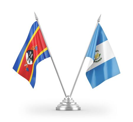 Guatemala and Eswatini Swaziland table flags isolated on white background 3D rendering