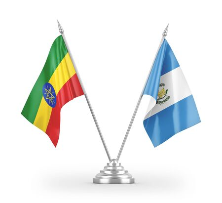 Guatemala and Ethiopia table flags isolated on white background 3D rendering