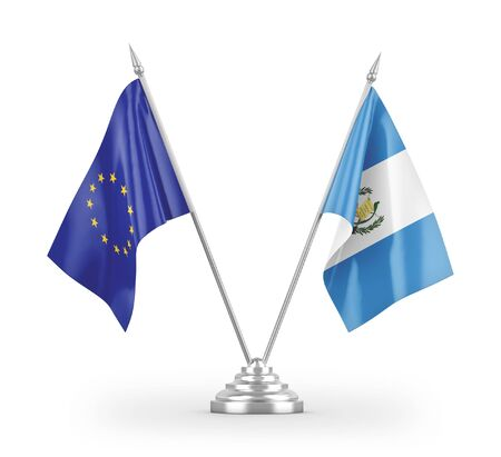 Guatemala and European Union table flags isolated on white background 3D rendering