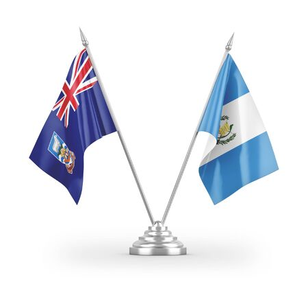 Guatemala and Falkland Islands table flags isolated on white background 3D rendering Zdjęcie Seryjne