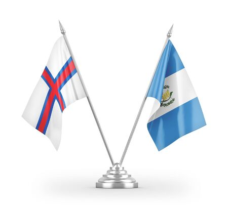 Guatemala and Faroe Islands table flags isolated on white background 3D rendering