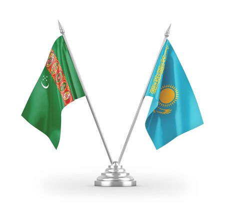 Kazakhstan and Turkmenistan table flags isolated on white background 3D rendering