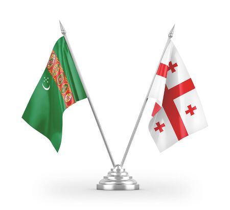 Georgia and Turkmenistan table flags isolated on white background 3D rendering