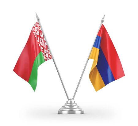 Armenia and Belarus table flags isolated on white background 3D rendering
