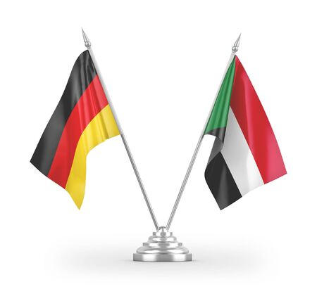 Sudan and Germany table flags isolated on white background 3D rendering