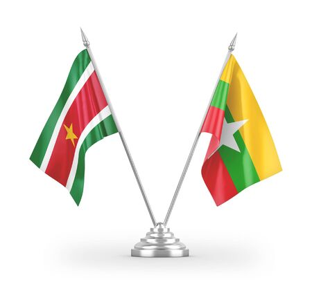 Myanmar and Suriname table flags isolated on white background 3D rendering