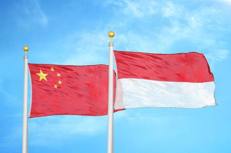 China and Indonesia two flags on flagpoles and blue cloudy sky background