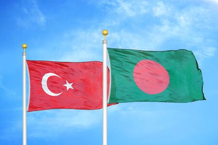 Turkey and Bangladesh two flags on flagpoles and blue cloudy sky background