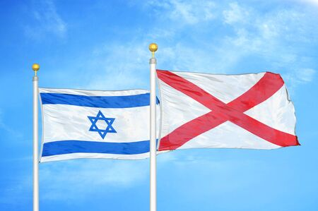 Israel and Northern Ireland two flags on flagpoles and blue cloudy sky background