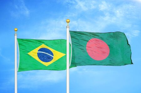 Brazil and Bangladesh two flags on flagpoles and blue cloudy sky background Stock Photo