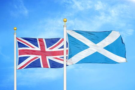 United Kingdom and Scotland two flags on flagpoles and blue cloudy sky background
