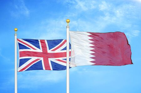United Kingdom and Qatar two flags on flagpoles and blue cloudy sky background