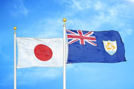 Japan and Anguilla two flags on flagpoles and blue cloudy sky background