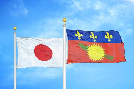Japan and Guadeloupe two flags on flagpoles and blue cloudy sky background Фото со стока