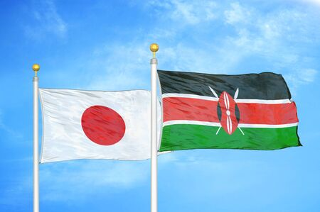Japan and Kenya two flags on flagpoles and blue cloudy sky background