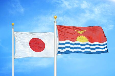 Japan and Kiribati two flags on flagpoles and blue cloudy sky background