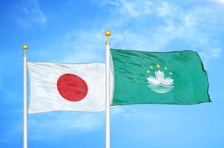 Japan and Macau two flags on flagpoles and blue cloudy sky background 스톡 콘텐츠