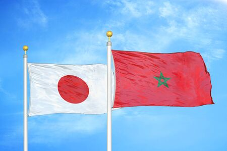 Japan and Morocco two flags on flagpoles and blue cloudy sky background