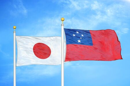 Japan and Samoa two flags on flagpoles and blue cloudy sky background 스톡 콘텐츠