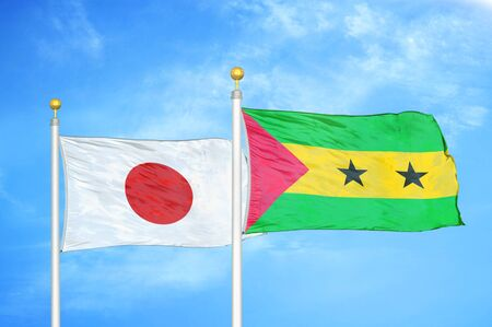 Japan and Sao Tome and Principe two flags on flagpoles and blue cloudy sky background