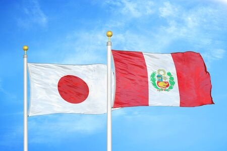 Japan and Peru two flags on flagpoles and blue cloudy sky background