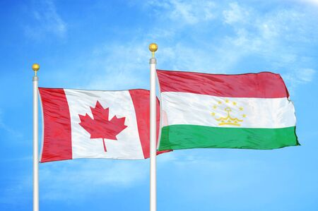 Canada and Tajikistan two flags on flagpoles and blue cloudy sky background