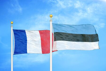 France and Estonia two flags on flagpoles and blue cloudy sky background