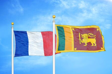 EXPERT CHRONICLE™ 143926169-france-and-sri-lanka-two-flags-on-flagpoles-and-blue-cloudy-sky-background