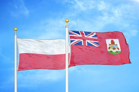 Poland and Bermuda two flags on flagpoles and blue cloudy sky background