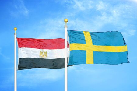 Egypt and Sweden two flags on flagpoles and blue cloudy sky background 版權商用圖片