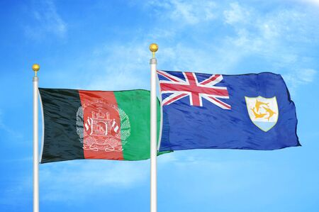 Afghanistan and Anguilla  two flags on flagpoles and blue cloudy sky background 版權商用圖片