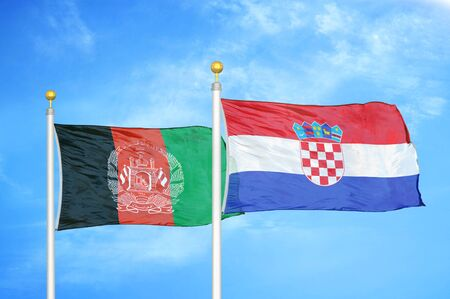 Afghanistan and Croatia  two flags on flagpoles and blue cloudy sky background