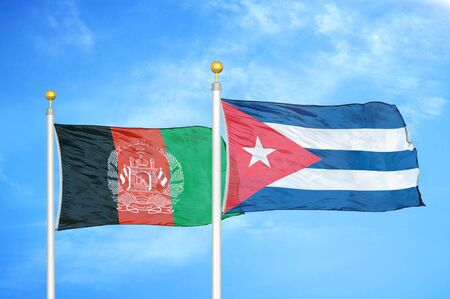 Afghanistan and Cuba  two flags on flagpoles and blue cloudy sky background