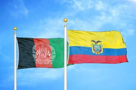 Afghanistan and Ecuador  two flags on flagpoles and blue cloudy sky background