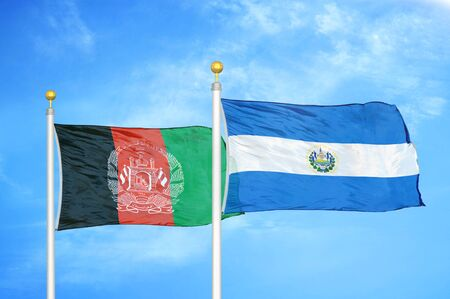 Afghanistan and El Salvador  two flags on flagpoles and blue cloudy sky background