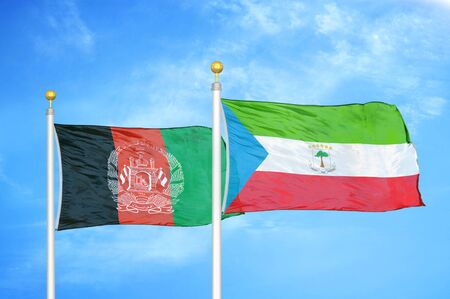 Afghanistan and Equatorial Guinea  two flags on flagpoles and blue cloudy sky background