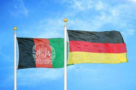 Afghanistan and Germany  two flags on flagpoles and blue cloudy sky background 版權商用圖片