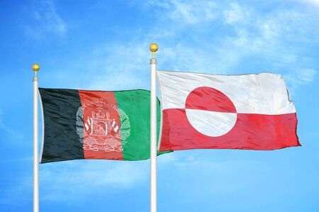 Afghanistan and Greenland  two flags on flagpoles and blue cloudy sky background