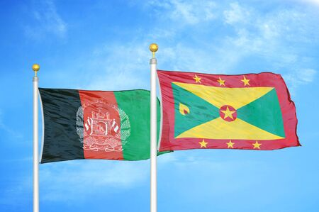Afghanistan and Grenada  two flags on flagpoles and blue cloudy sky background