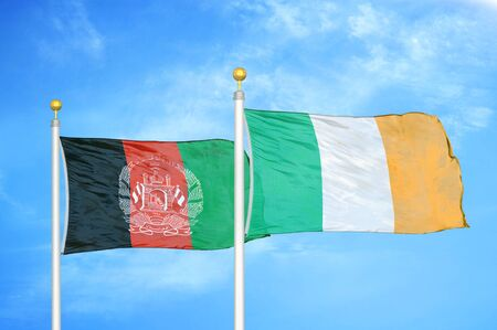 Afghanistan and Ireland  two flags on flagpoles and blue cloudy sky background 版權商用圖片